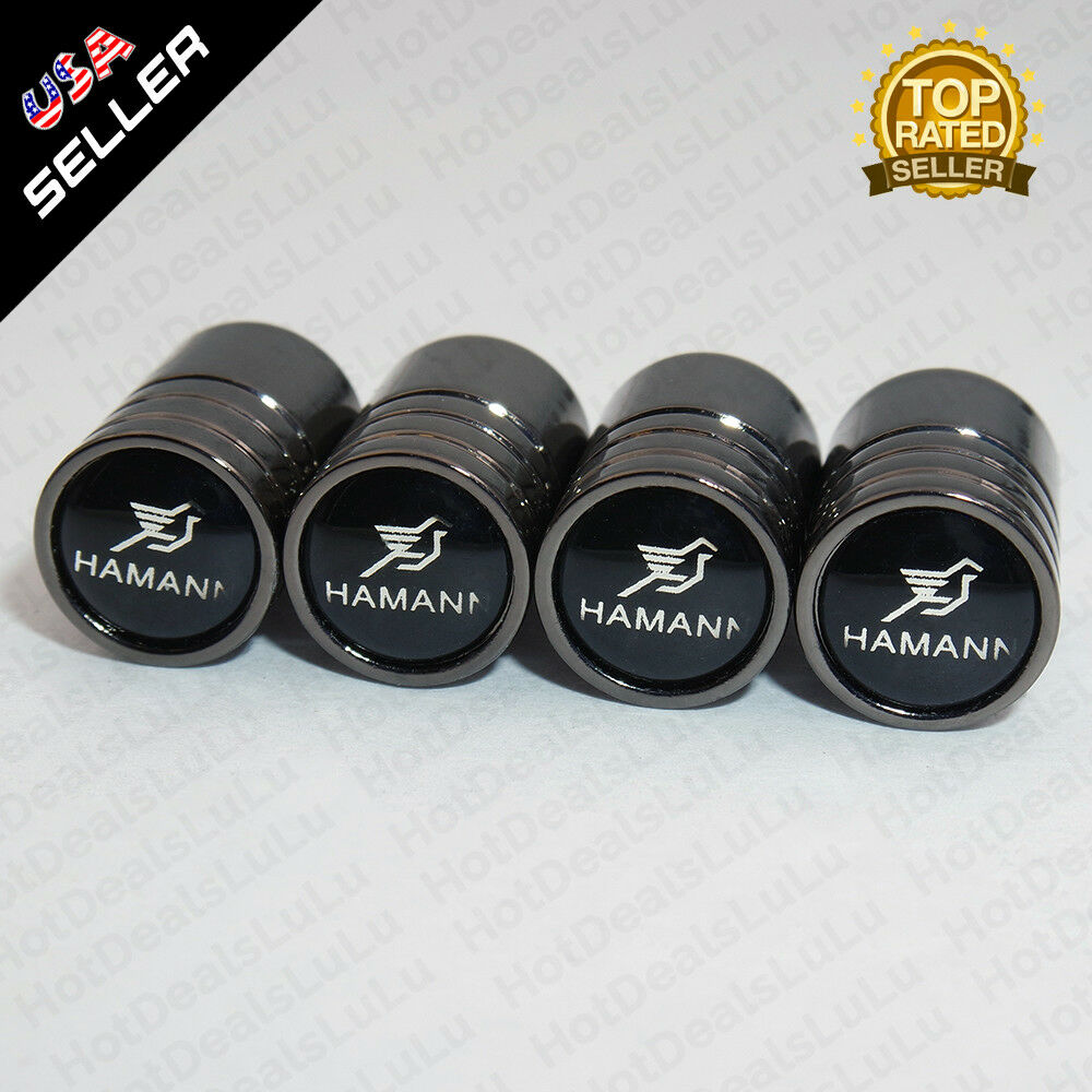 Black Chrome Wheel Tire Air Valve Caps Stem Valve Cover With Hamann Emblem - US85.COM
