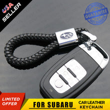 Load image into Gallery viewer, Black Calf Leather Alloy For Subaru Keychain Gift Decoration Accessories - US85.COM