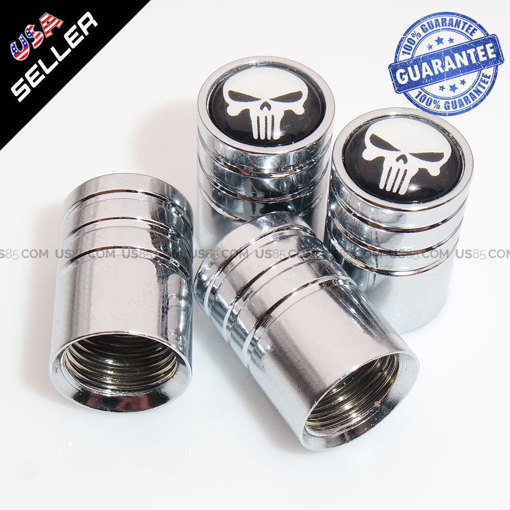 Chrome Car Wheel Tyre Tire Air Valve Caps Stem Cover With Skull Emblem Gift - US85.COM