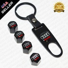 Load image into Gallery viewer, Black Car Wheel Tire Valve Dust Stems Air Caps + Wrench Keychain With Audi Logo Emblem - US85.COM