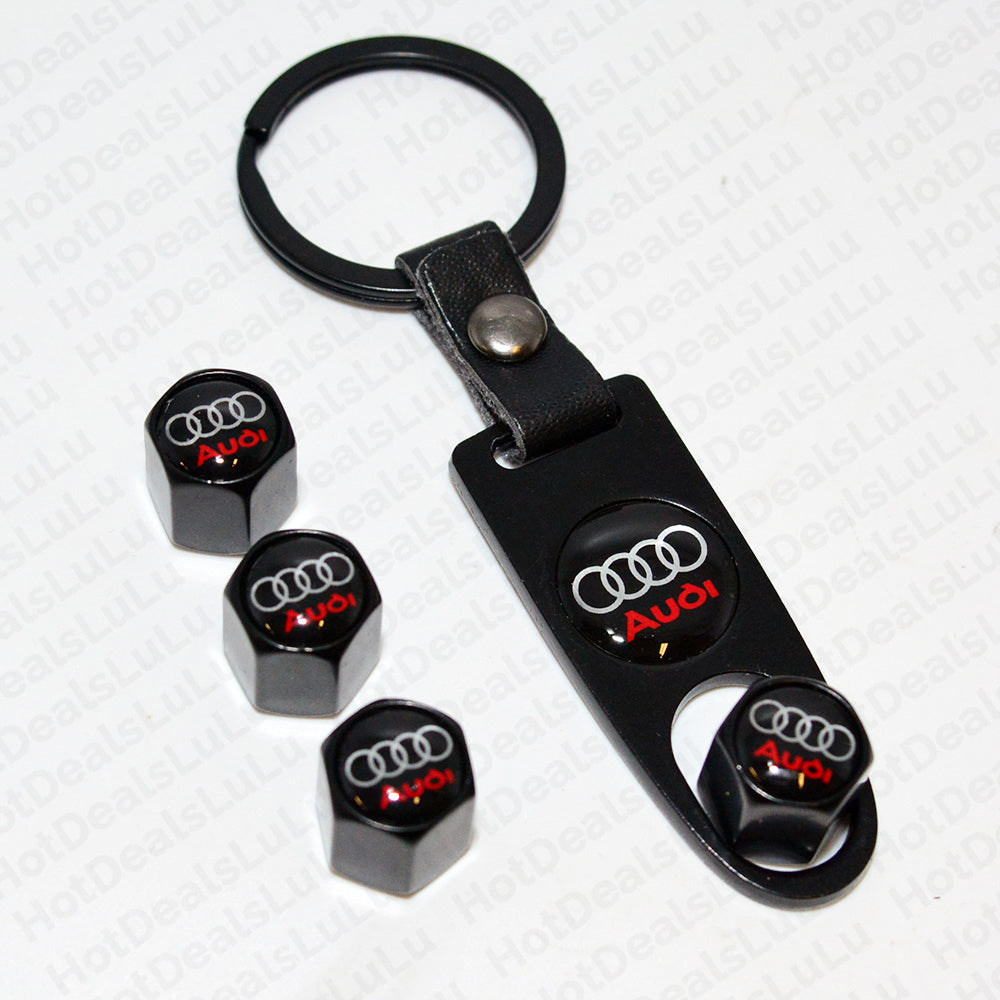 Black Car Wheel Tire Valve Dust Stems Air Caps + Wrench Keychain With Audi Logo Emblem - US85.COM