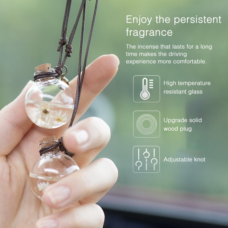 Fashion Decoration Car Rearview Mirror Hanging Perfume Pendant Bottle Air Freshener w/ Flower Essential Oils Diffuser for Auto Ornaments