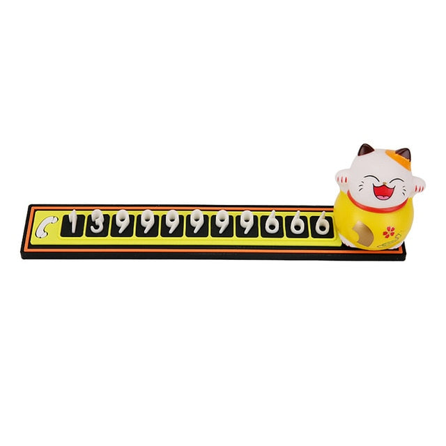 Cute Cartoon Lucky Cat Car Temporary Parking Phone Number Plate Automobiles Telephone Number  Sticker  Notification Decoration