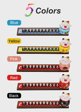 Load image into Gallery viewer, Cute Cartoon Lucky Cat Car Temporary Parking Phone Number Plate Automobiles Telephone Number  Sticker  Notification Decoration