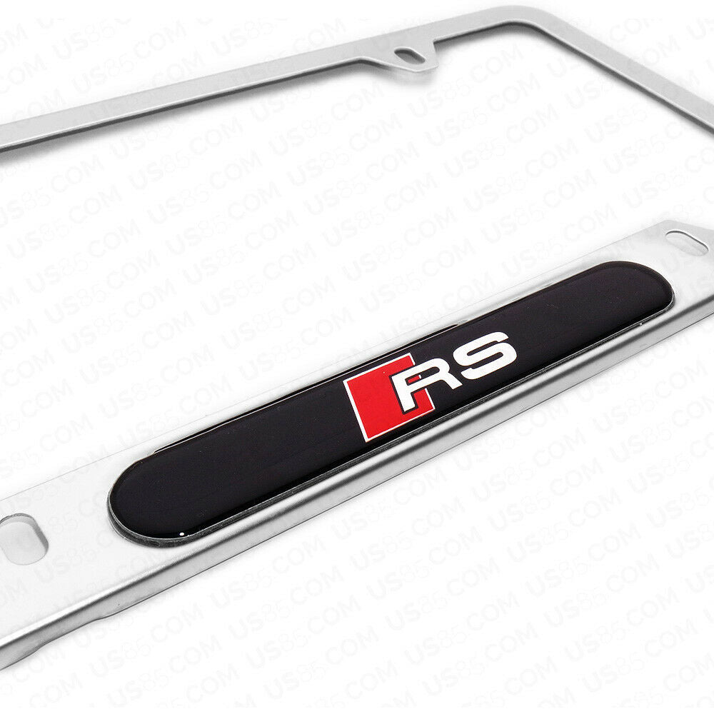 Mirror Chrome Stainless Steel Front / Rear Audi RS Sport Logo Emblem License Plate Frame Cover Gift - US85.COM