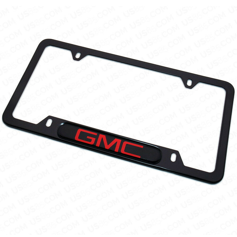 Black Stainless Steel Front Rear Truck SUV GMC Sport Emblem License Plate Frame Cover Gift - US85.COM