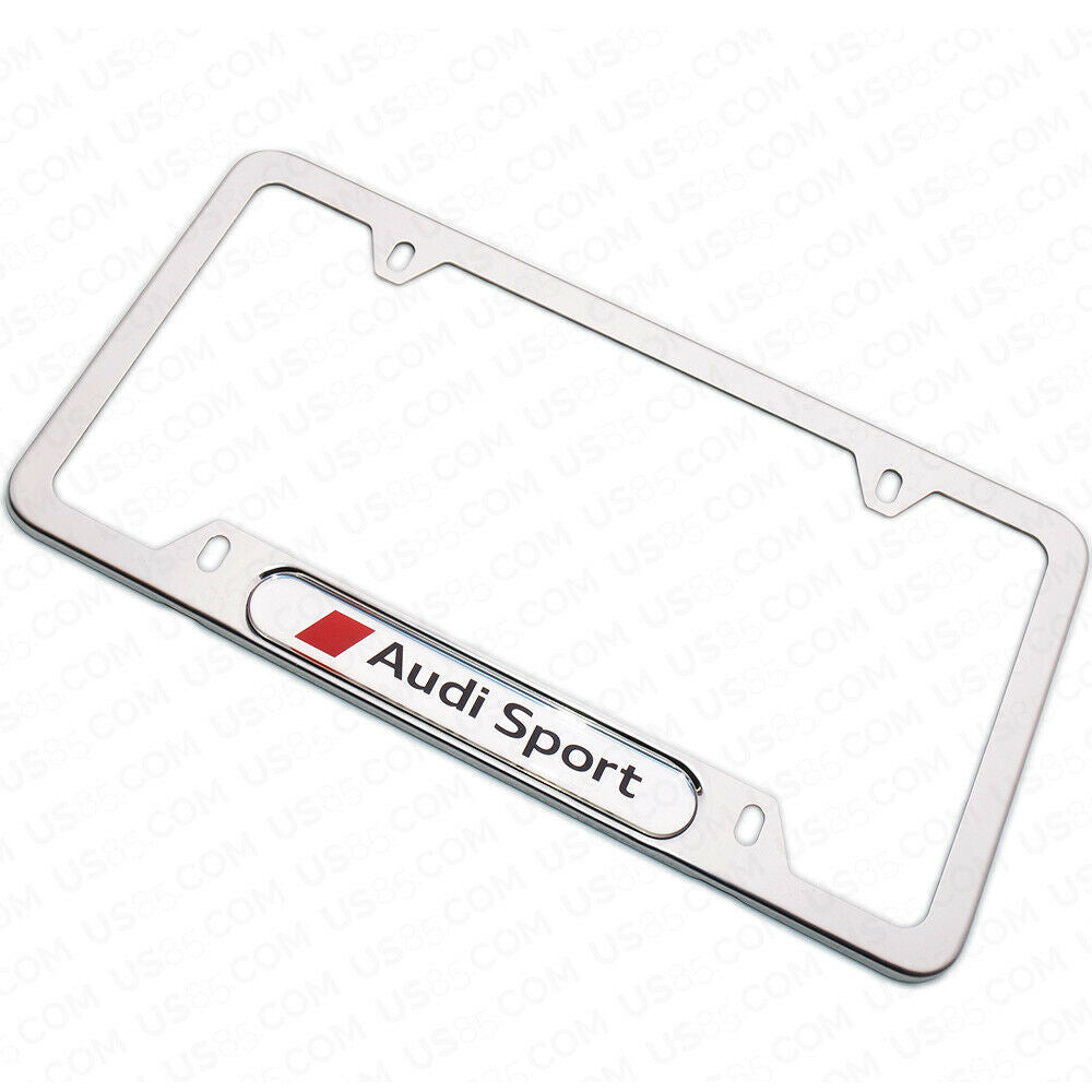 Mirror Chrome Stainless Steel Front / Rear For Audi Sport License Plate Frame Cover Gift - US85.COM