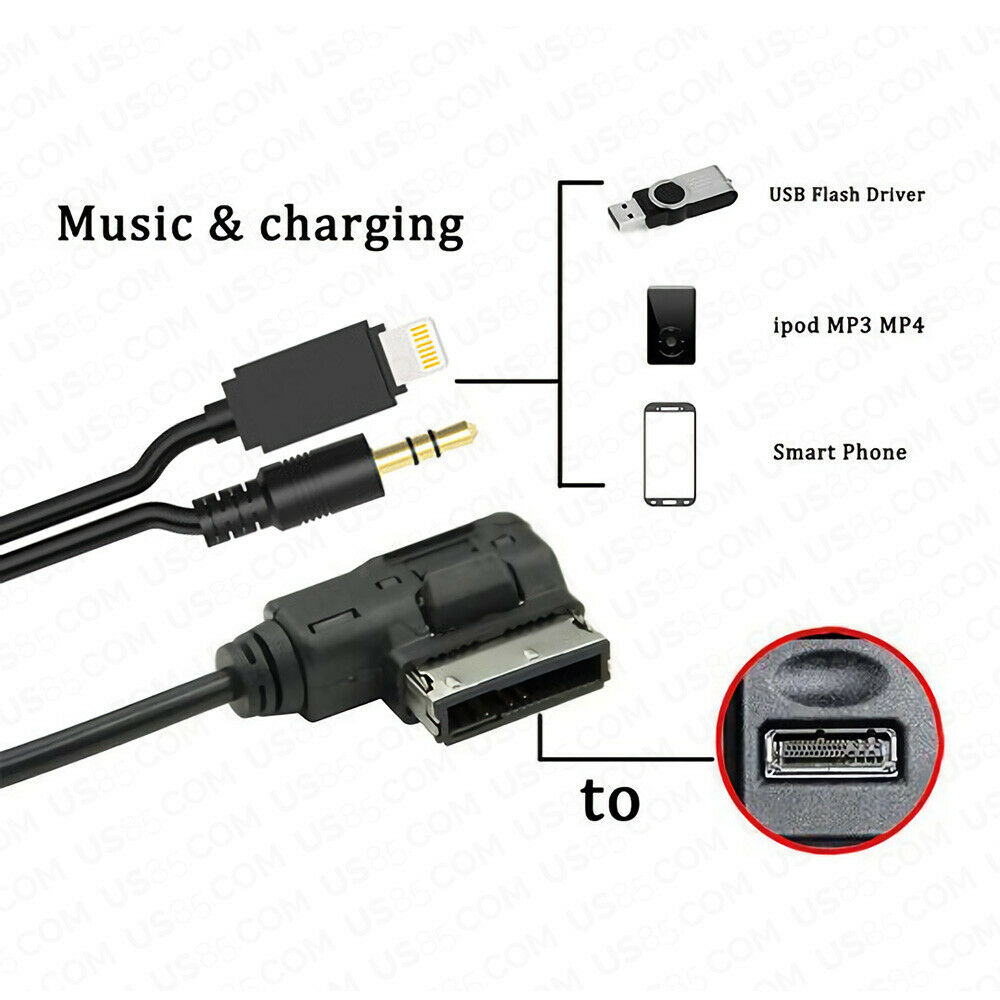 6ft For Audi VW AMI Adapter for iPhone Lightning Charging & AUX Cable MMI MEDIA Music Interface