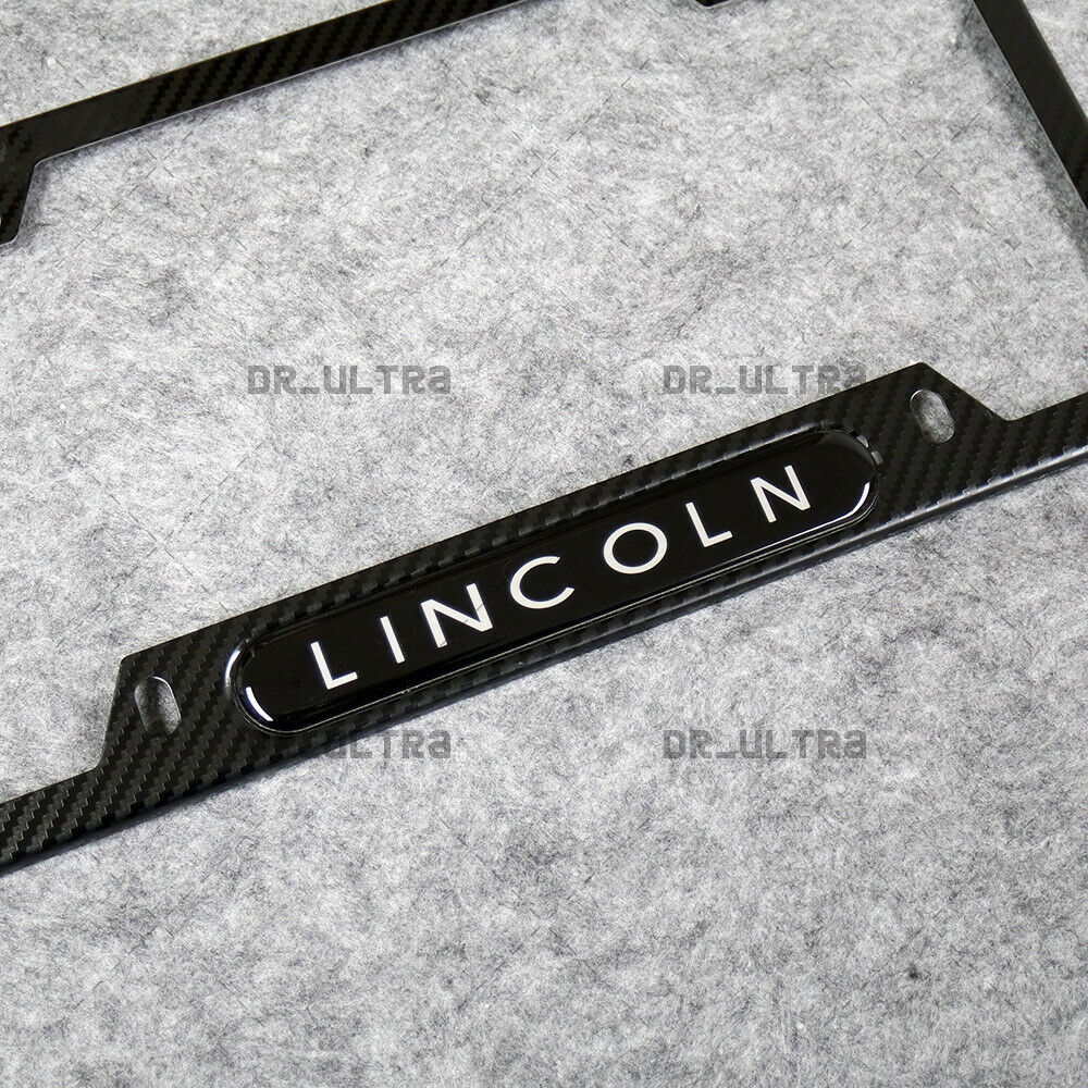 For Lincoln Sport Front or Rear Carbon Fiber Texture License Plate Frame Cover