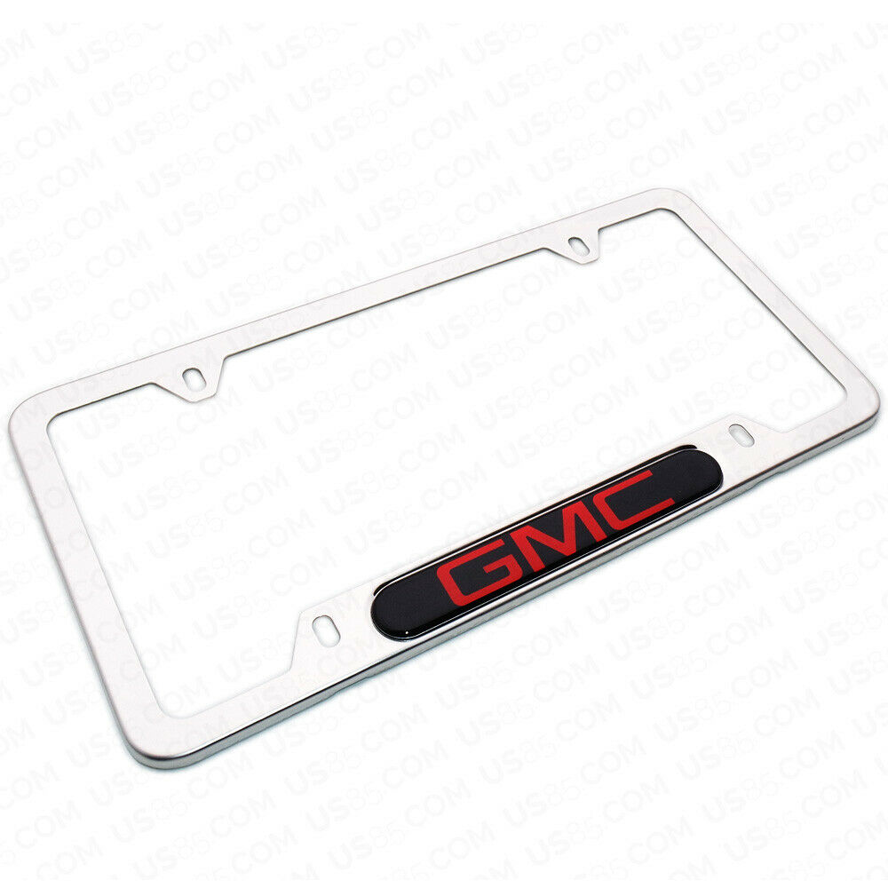 Mirror Chrome Stainless Steel Front Rear For GMC Sport License Plate Frame Cover Gift - US85.COM
