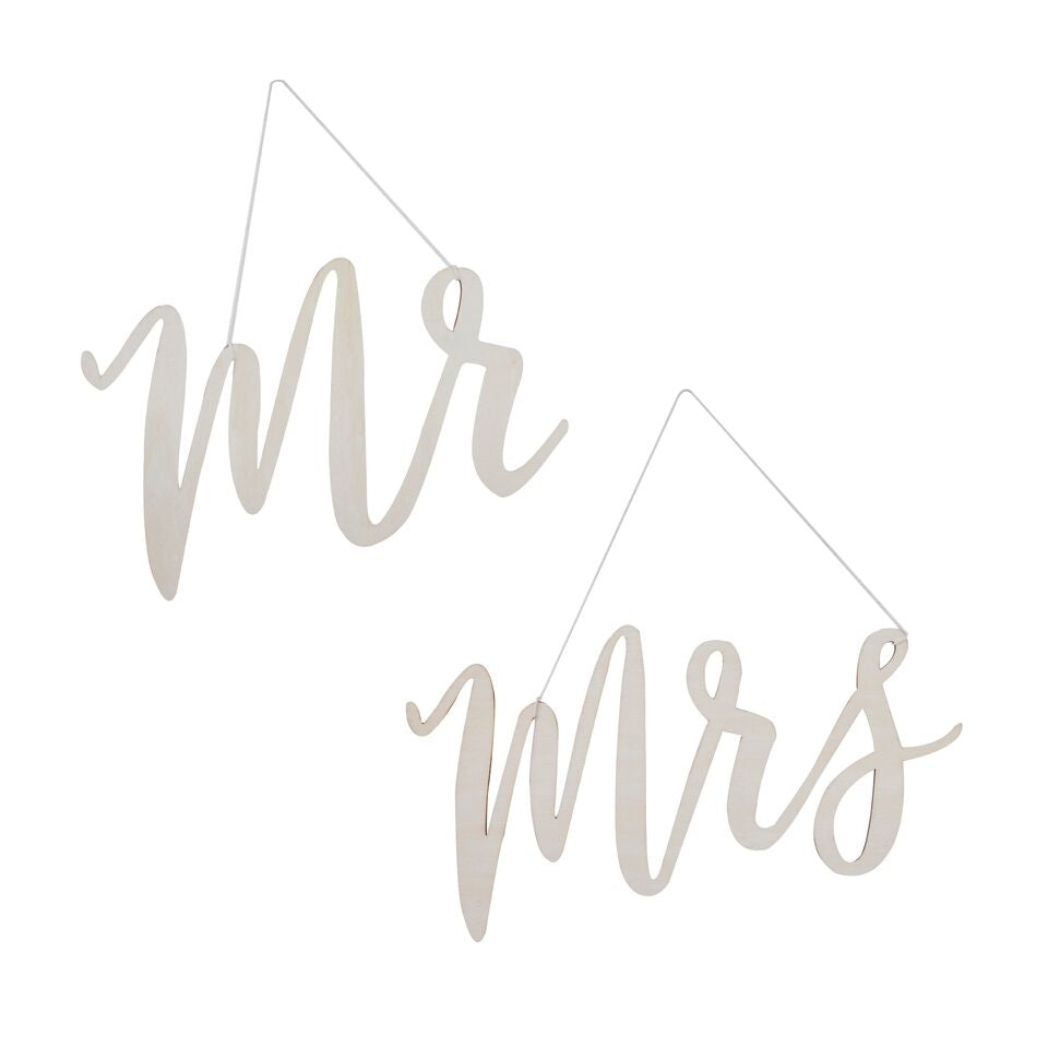 WOODEN MR & MRS CHAIR SIGNS
