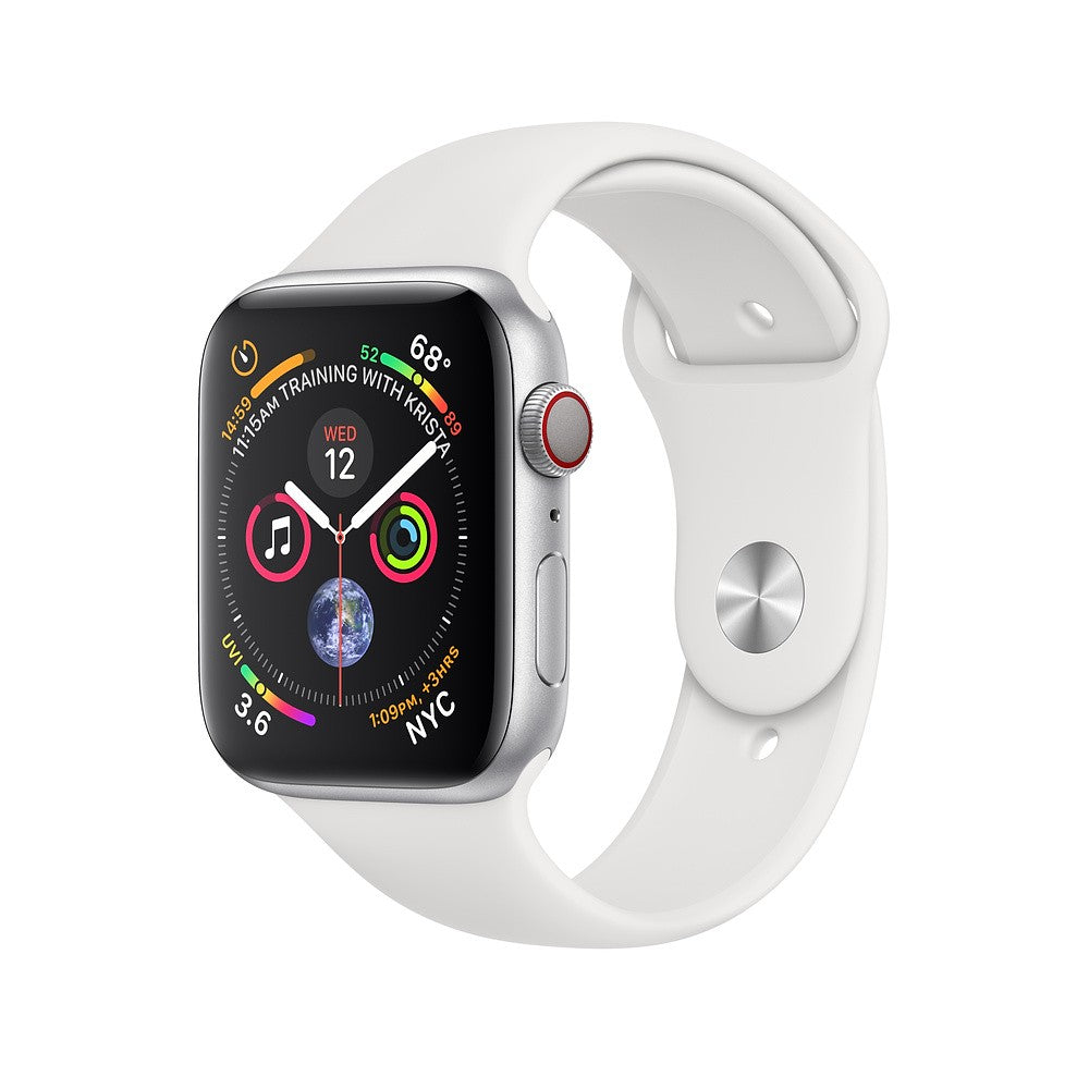 Apple Watch Series 4 GPS + Cellular 40mm Silver Aluminum Case with Sport Band (White) MTVA2ZP/A