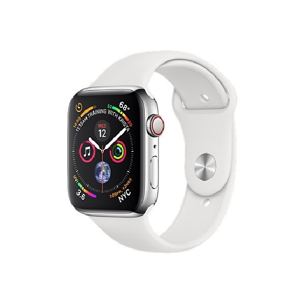 Apple Watch Series 4 GPS + Cellular 44mm Stainless Steel Case Sport Band (White) MTX02ZP/A