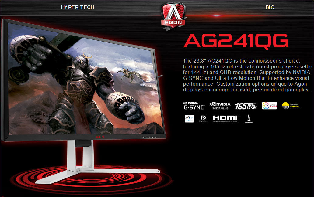 AOC AGON 23.8' 1ms 165Hz 2560x1440 G-Sync Gaming Monitor w/HAS - HDMI/DP,Hub/Charge,Speaker,Height Adjust