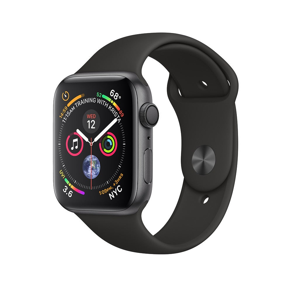 Apple Watch Series 4 GPS + Cellular 44mm Space Gray Aluminum Case with Sport Band (Black) MTVU2ZP/A