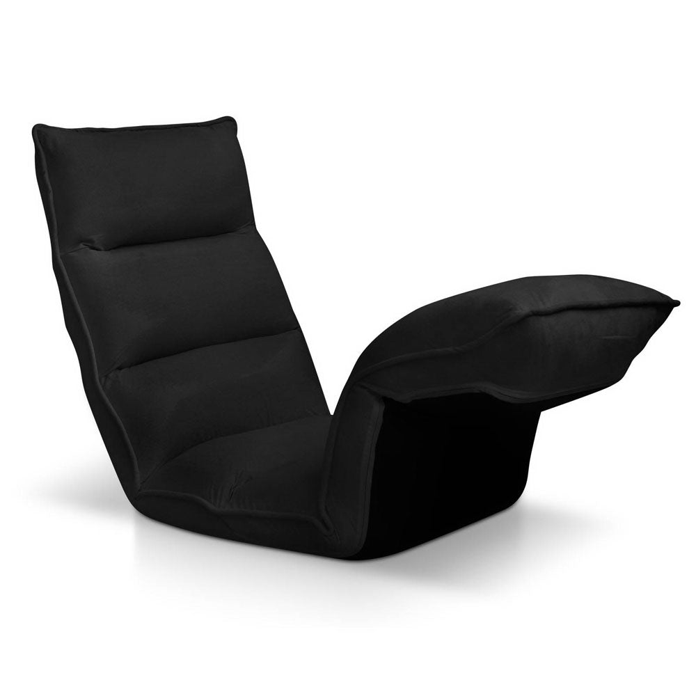 4 Adjustable Section Floor Lounge Chair- Black