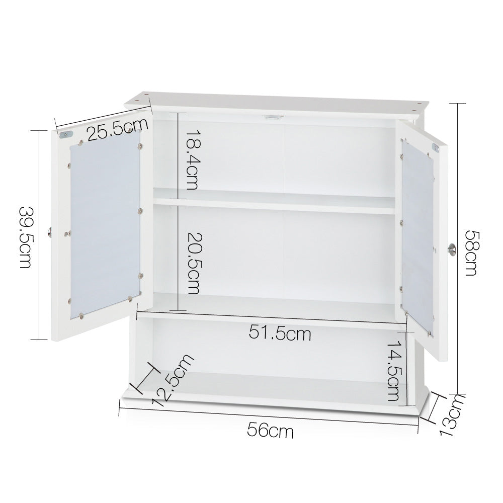 Bathroom Tallboy Storage Cabinet with Mirror - White - Buy Now & Pay ...