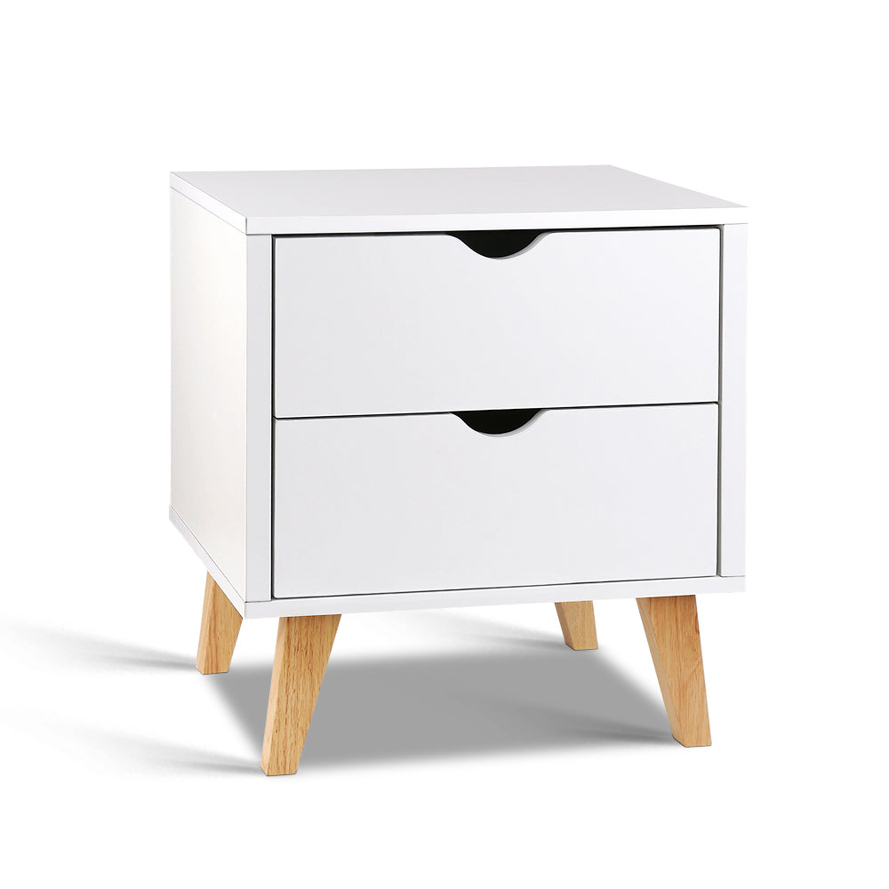 2 Drawer Wooden Bedside Tables - White