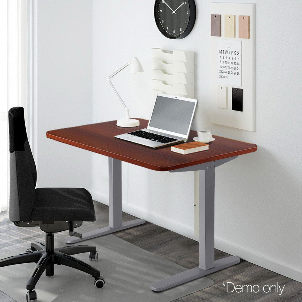 100cm Motorised Electrical Adjustable Frame Standing Desk - Walnut