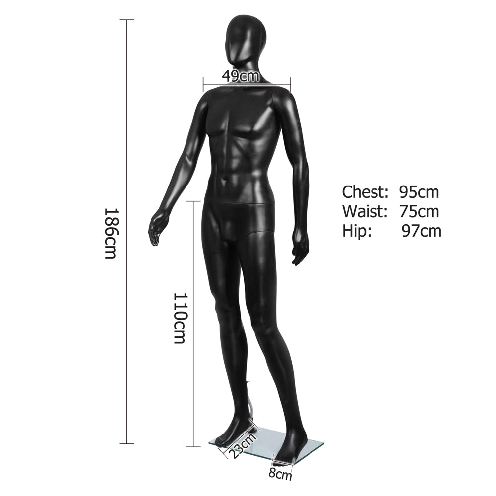 186cm Tall Full Male Mannequin - Black - Buy Now & Pay Later ... on