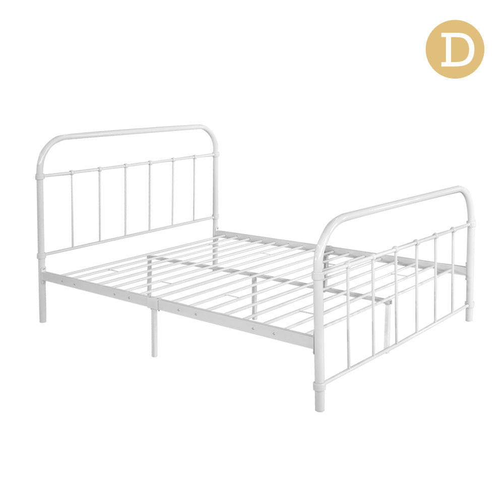 Double Size Metal Bed Frame - White - Buy Now & Pay Later - Afterpay ...