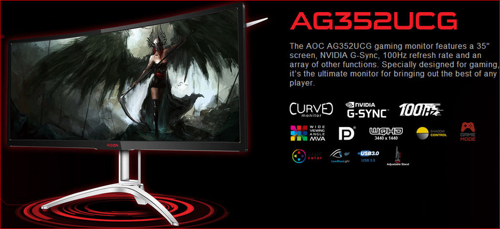 AOC AGON 35' VA 4ms 100Hz 3440x1440 G-Sync Curved Gaming Monitor w/HAS - HDMI/DP Speaker Height Adjust VESA100mm Black & Red | Afterpay with Oxipay