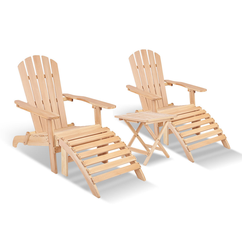5 Piece Wooden Table and Chair Set - Natural Wood