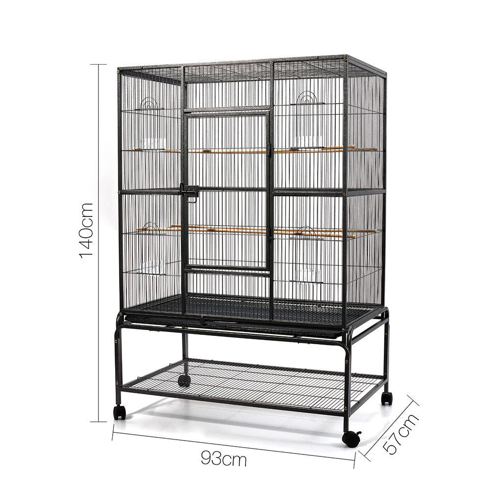 140cm Bird Cage with Stand Alone Budgie Perch - Black