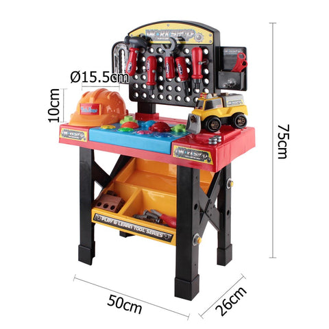 52 Piece Kids Pretend Play Workbench Tool Set - Black