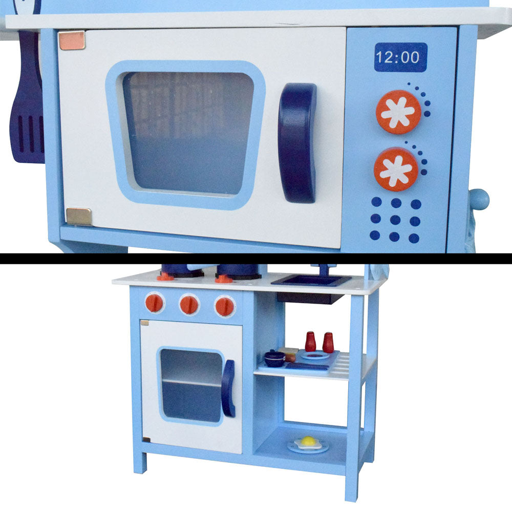 18 Piece Kids Wooden Pretend Kitchen Play Set - Blue