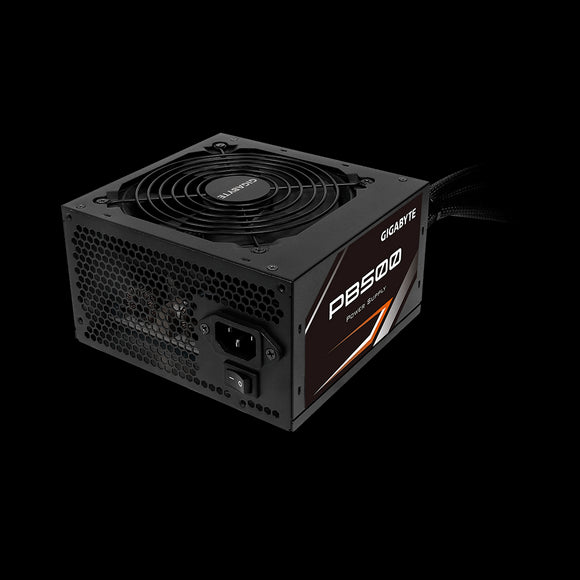 Gigabyte PB500 500W ATX PSU Power Supply 80+ Bronze 86% 120mm Fan Mesh Braided Cables Single +12V Rail Japanese Capacitors >100K Hrs MTBF - COMPURIG TECH