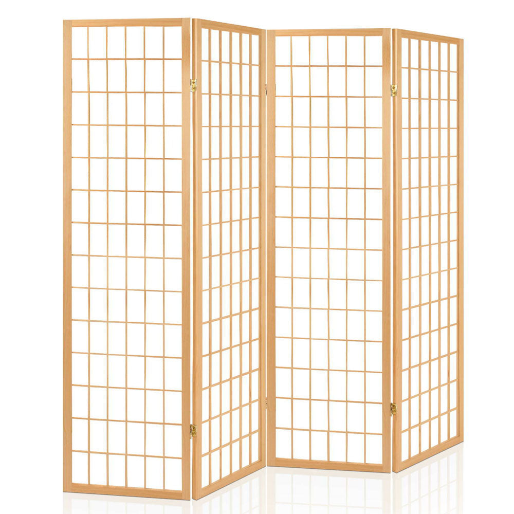 4 Panel Wooden Room Divider - Natural