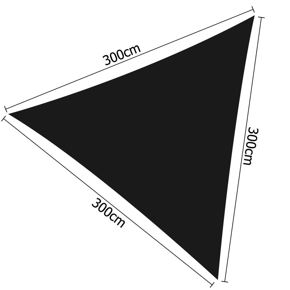 3 x 3 x 3m Triangle Shade Sail Cloth - Black