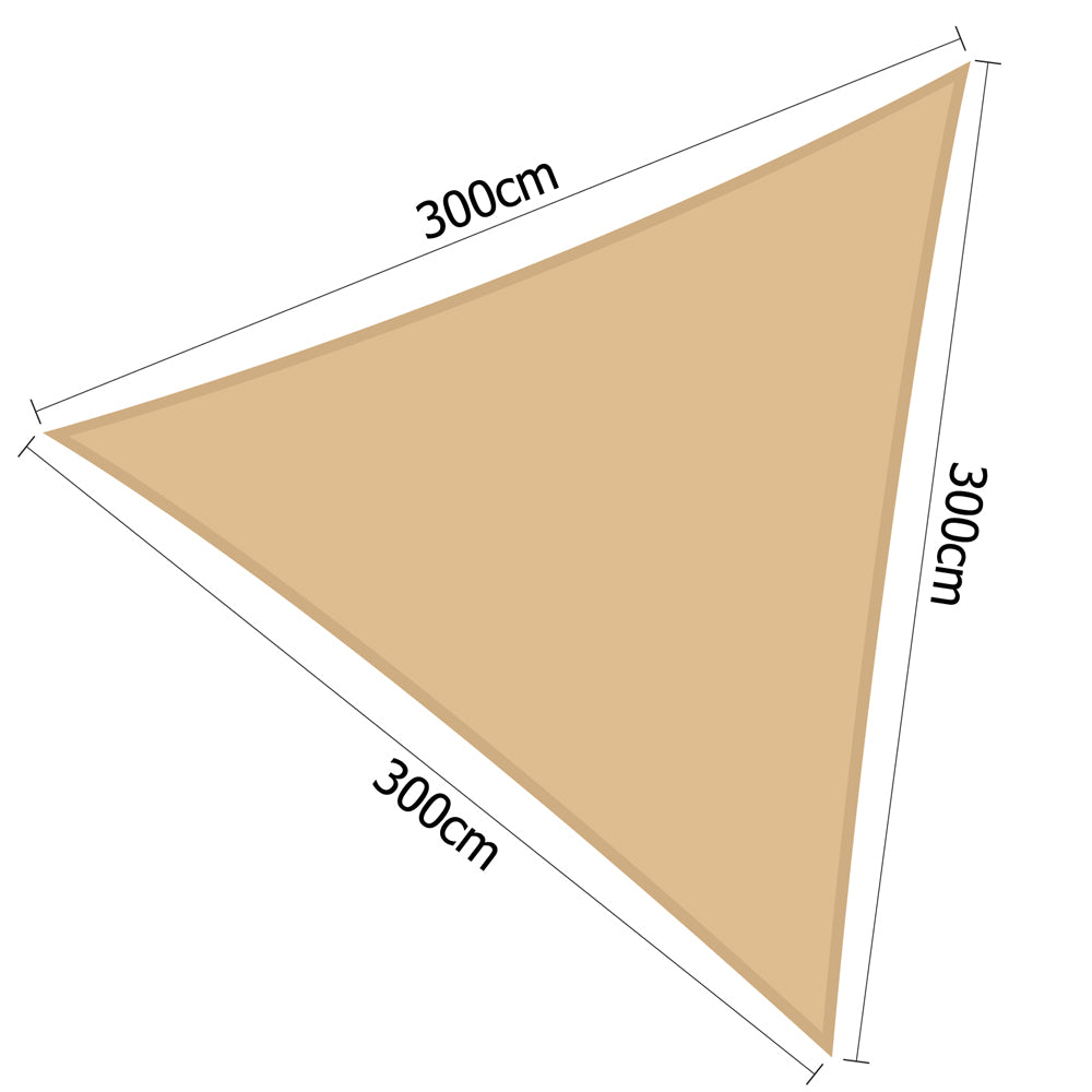 3 x 3 x 3m Triangle Shade Sail Cloth - Sand Beige