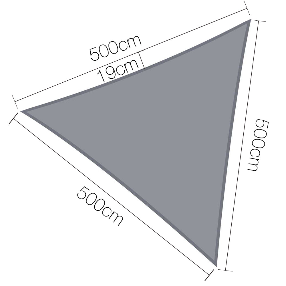 5 x 5 x 5m Triangle Shade Sail Cloth - Grey