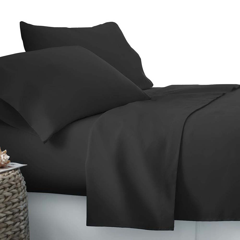 3 Piece Microfibre Sheet Set Single Black