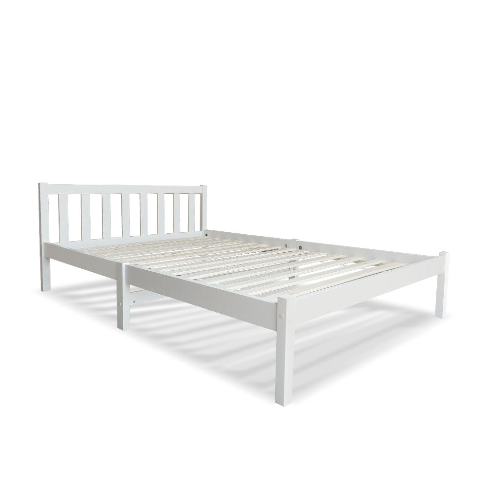 King Single Wooden Bed Frame - White - Buy Now & Pay Later ...