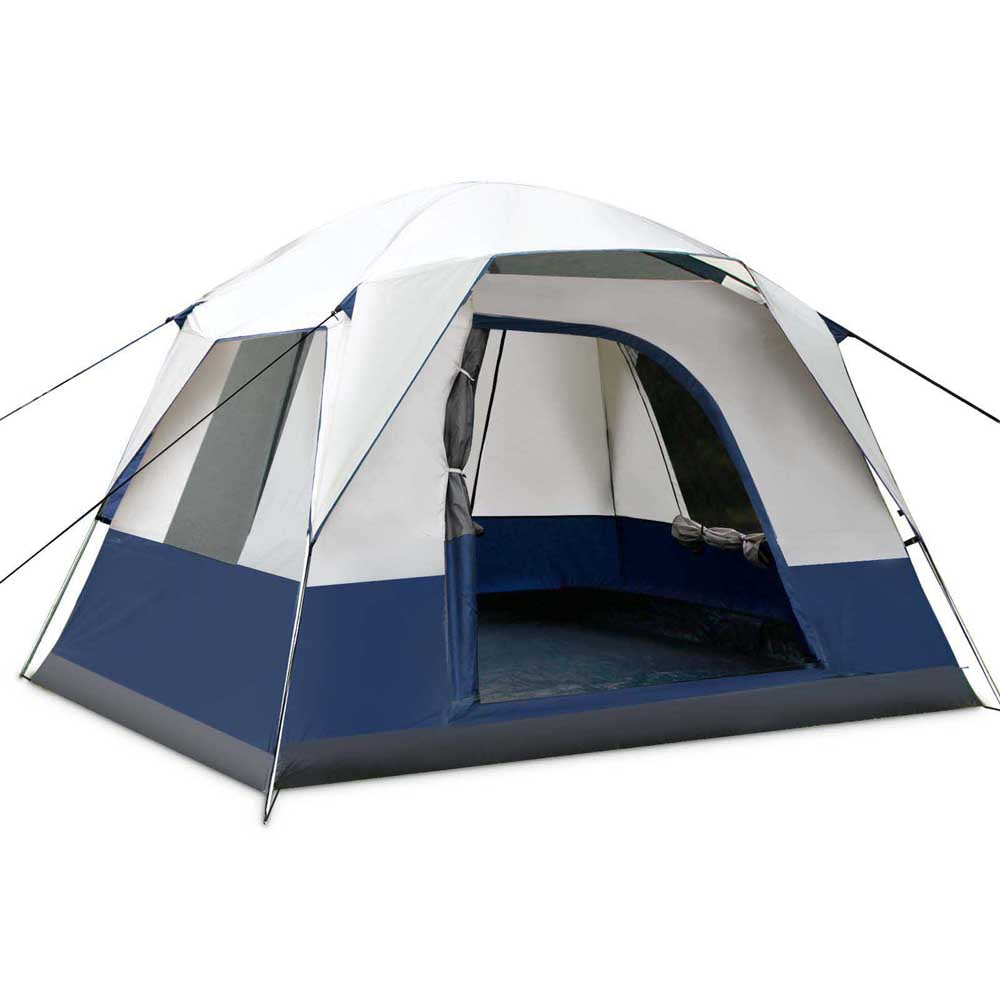 4 Person Canvas Camping Tent - Navy & Grey