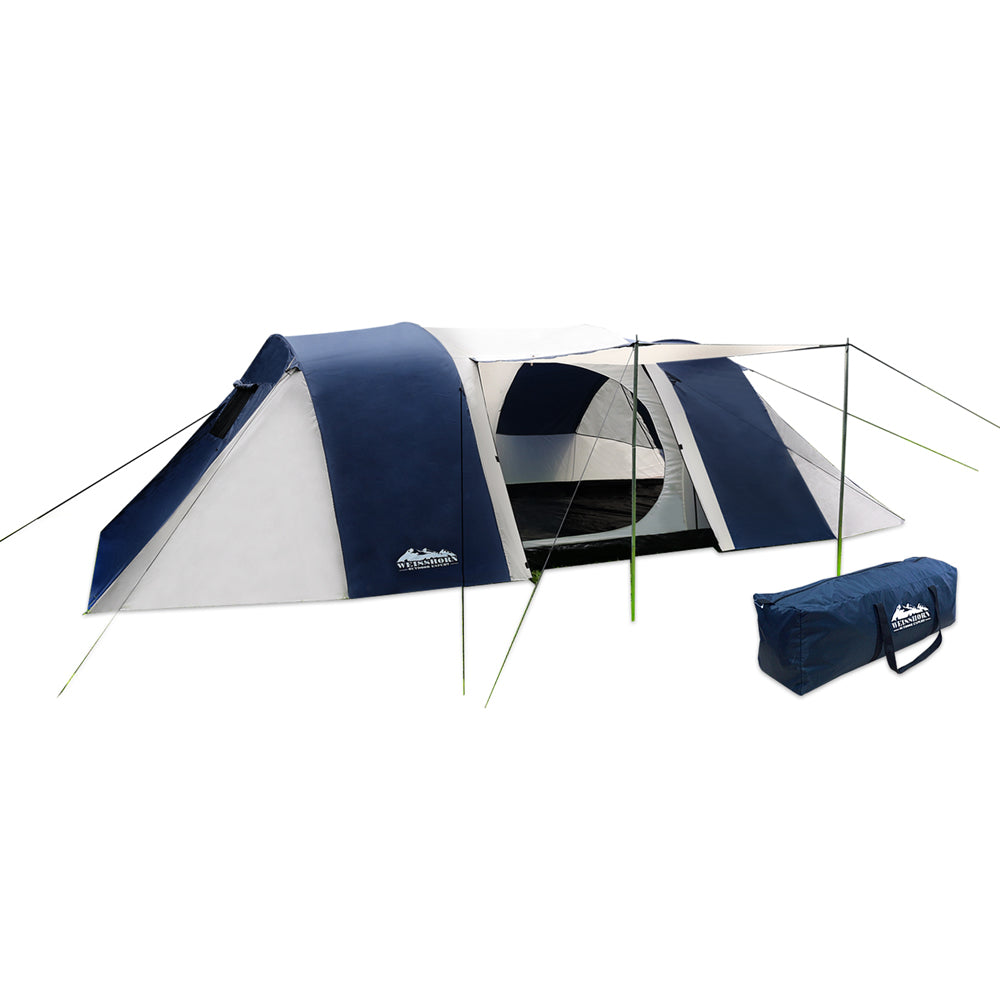 12 Person Canvas Dome Camping Tent - Navy & Grey