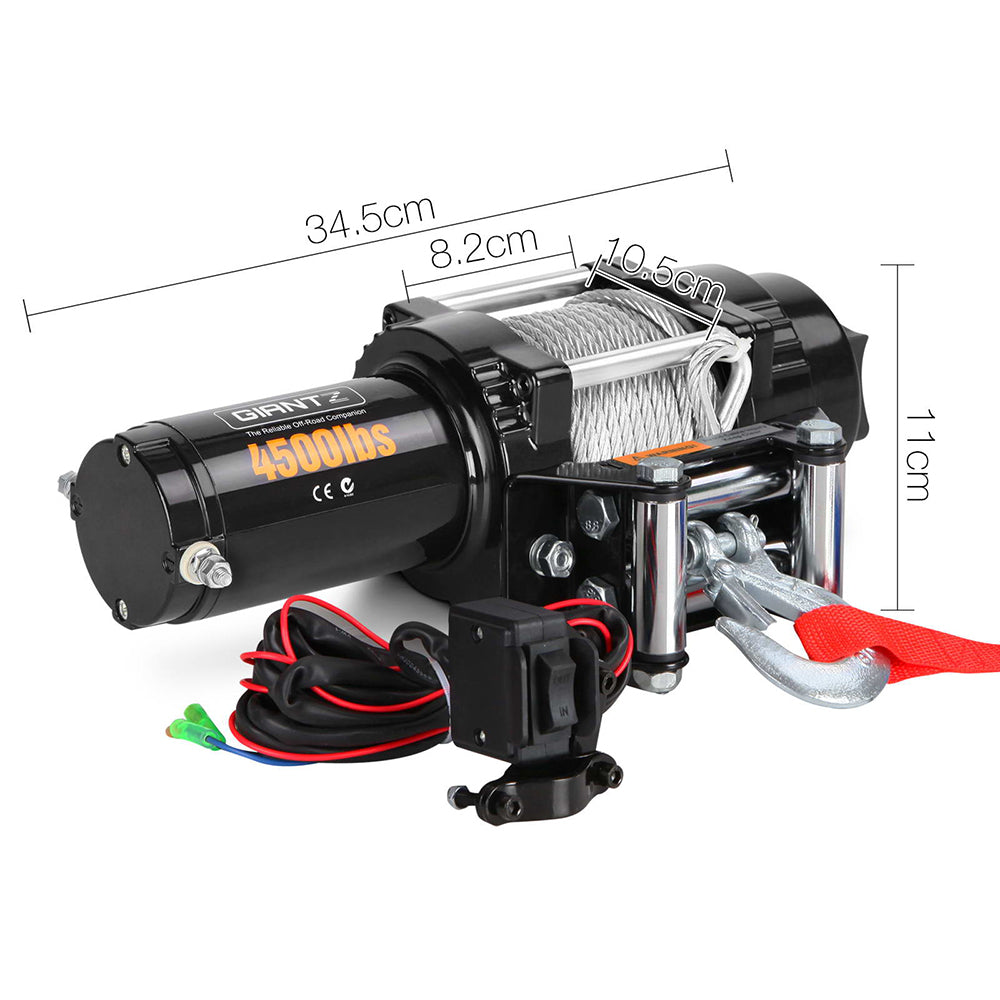 12V Wireless Electric Winch Remote with Steel Cable