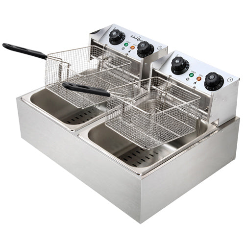 Commercial Electric Twin Deep Fryer - Silver