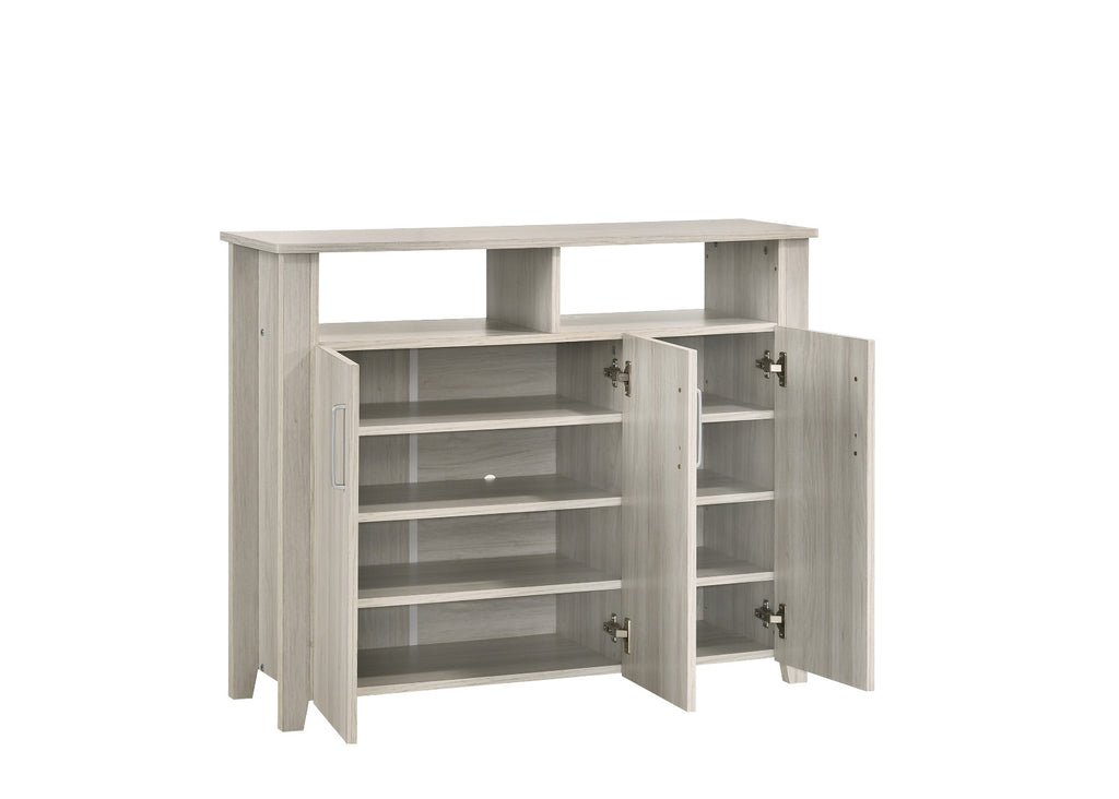 3 Door Large Shoe Cabinet With Shelf In White Oak