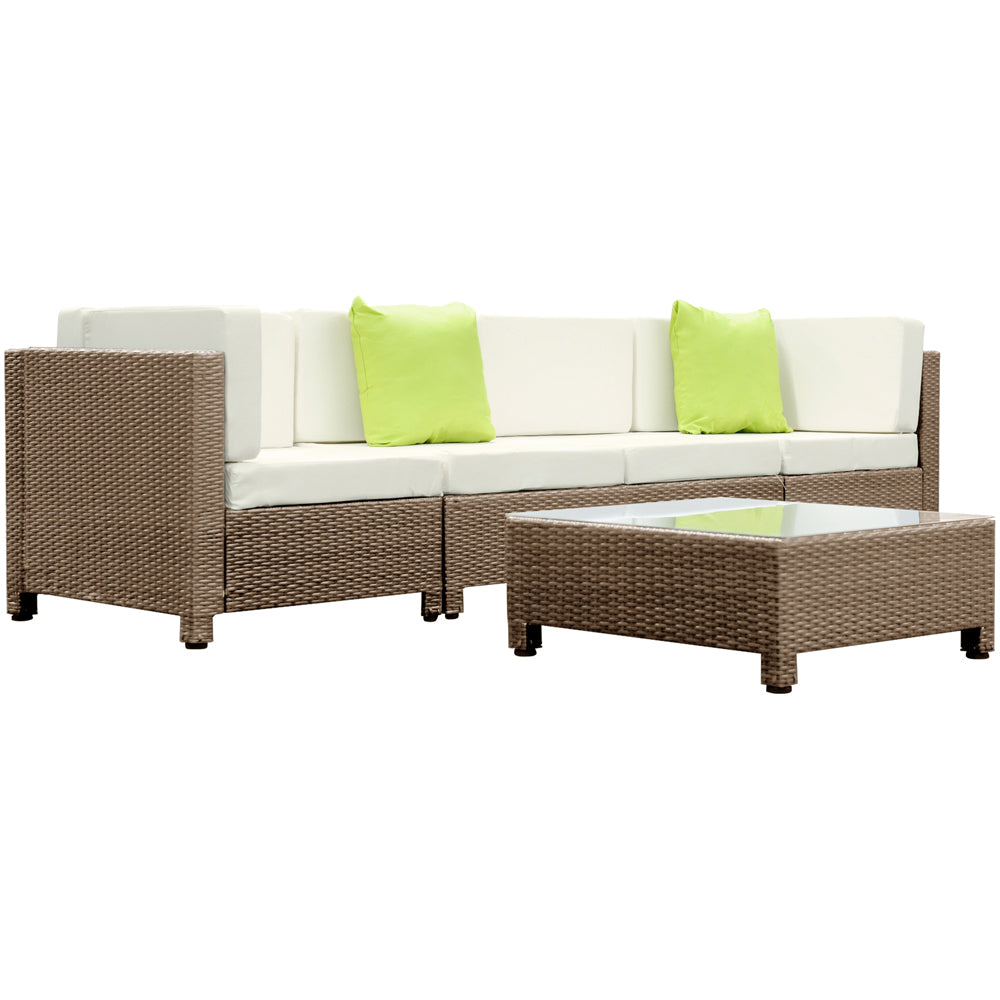 5 Piece PE Wicker Outdoor Sofa - Brown Biege