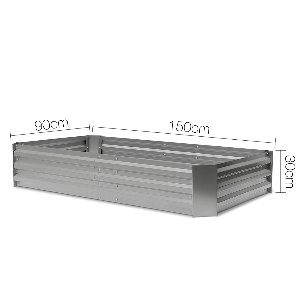 150 x 90cm Galvanised Steel Garden Bed - Aliminium White
