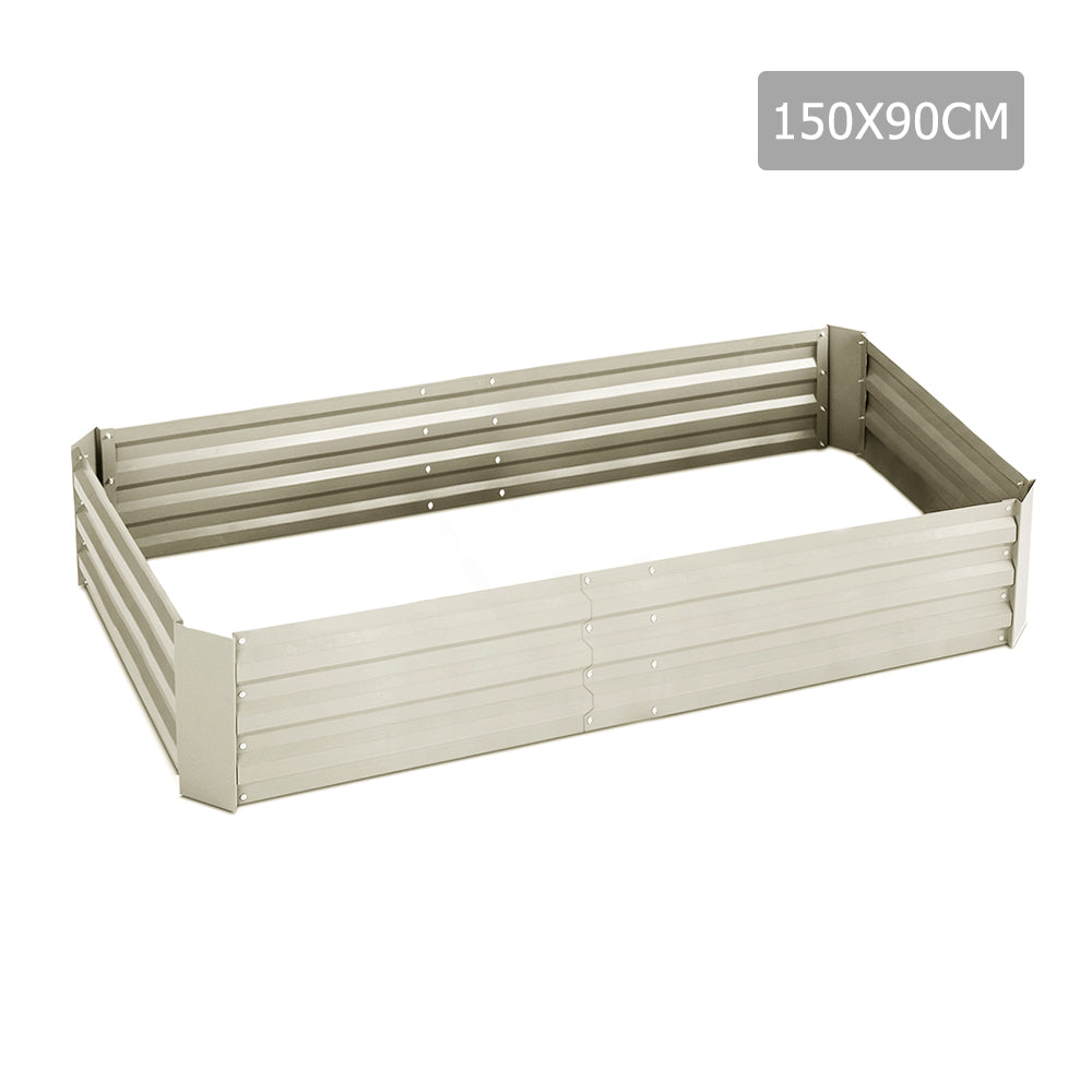 150 x 90cm Galvanised Steel Garden Bed - Cream