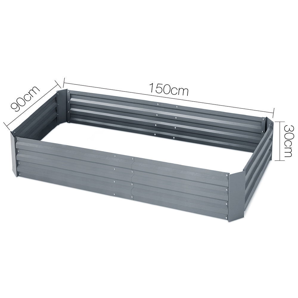 150 x 90cm Galvanised Steel Garden Bed - Alumium Grey