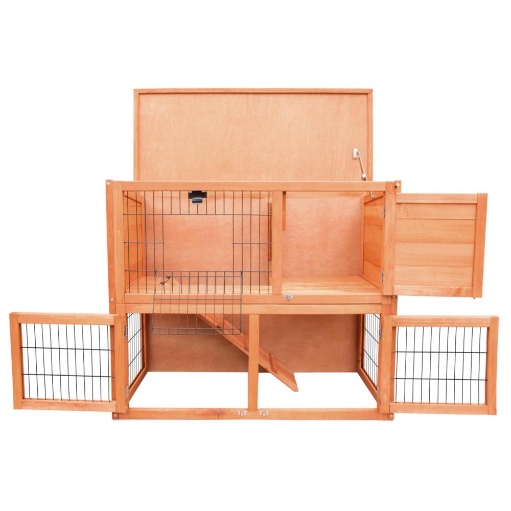 2 Storey Wooden Rabbit Hutch Chicken Coop Guinea Pig Cage