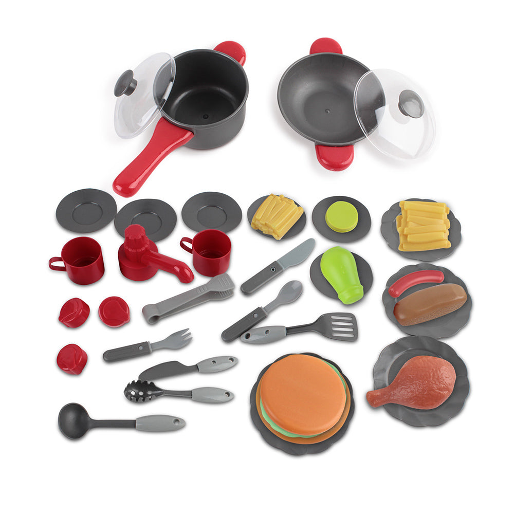 Kid's Pretend Play Kitchen Mini Chef Cookware Set - Red