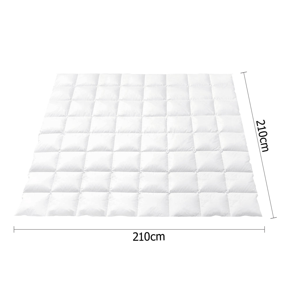 Queen Size Duck Down Quilt Cover - White