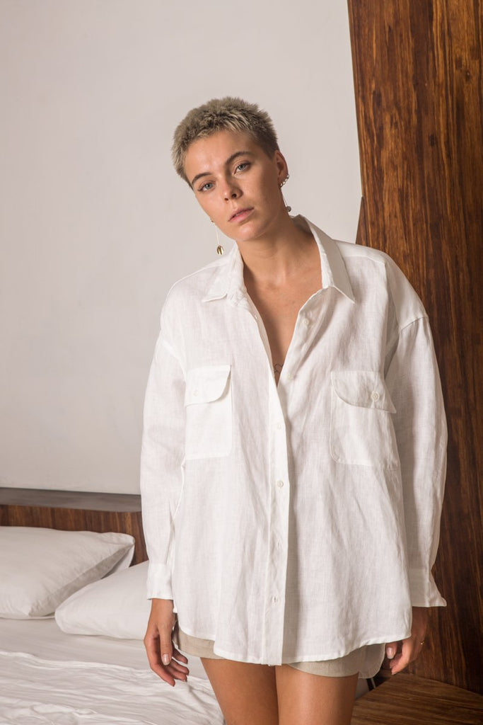 Arthur Apparel Top - Grande Linen Shirt in Bright White on model